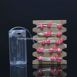 Pink Heart Fairy String Lights Silver Wire AA Battert for Xmas Party Lovers pictures & photos