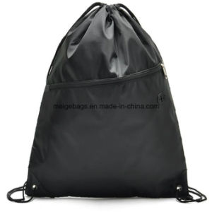 Polypropylene Promotional Drawstring Sports Backpack Bag, with Zipper Pocket pictures & photos