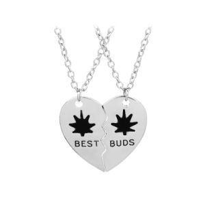 Promotional Gift-Best Buds/Friends Weed Leaf Pendant Necklace Metal in Gold&Silver Color pictures & photos
