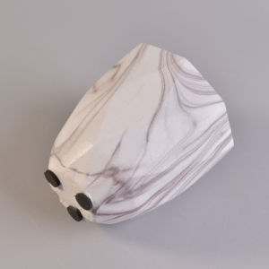 Faceted White Marble Finish Water Transfer Ceramic Candle Holder  pictures & photos