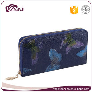 Latest Design Long Wallet, Women Wallet with Printed Butterfly, Zip Wallet Purse PU Leather pictures & photos