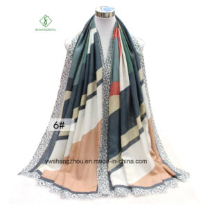 Fashion Shawl with Geometric Letters Printed Thick Satin Lady Scarf pictures & photos