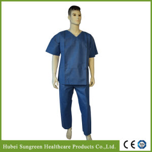 Hospital Disposable Dark Blue SMS Non-Woven Scrub Suit, Neck with White Binding pictures & photos