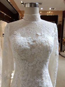Mermaid Halter Long Sleeve Tulle Wedding Dress pictures & photos