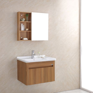 Wooden Grain Stainless Steel Bathroom Cabinet with Mirror Cabinet pictures & photos