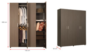 Melamine Laminated MFC Wooden Wardrobe (HX-DR258) pictures & photos