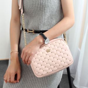 Qulited PU Handbag with Rivets Teen Girl Online Shopping Bag pictures & photos