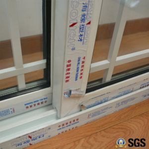 Double Glass with Grid White Colour UPVC Profile Sliding Window K02016 pictures & photos