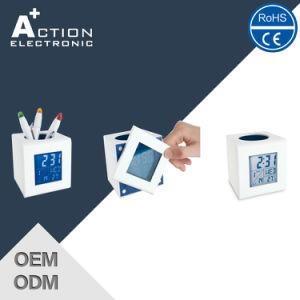 Blue LED Cube Promotion Pen Container Alarm Clock for Children pictures & photos
