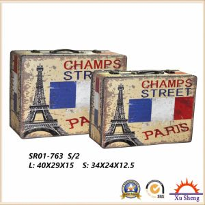 Wooden Antique The Eiffel Tower Pattern Print Suitcase Storage Box Gift Box Jewelry Box pictures & photos
