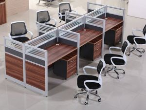 6 Seats Straight Desk Workstation Cluster Staff Office Partition (HX-NCD314) pictures & photos