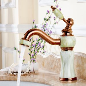 Flg Bath Basin Faucet Jade Painting Crystal Handles Golden Color pictures & photos