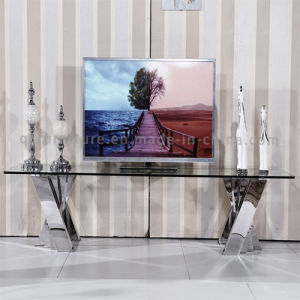 Modern Hotel Furniture Mirror TV Stand with Clear Glass Top pictures & photos