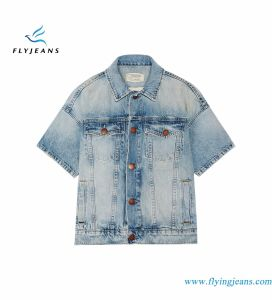 Light-Blue Rolled Sleeve Trucker Jacket with Monkey Enzyme Vintage Washes pictures & photos