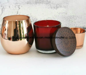 Hot Sale Rose Copper Glass Scented Jar Candle for Home Decor and Promotion pictures & photos