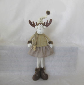 Merry Christmas Standing Reindeer Couple with Knitted Shirt-2asst pictures & photos