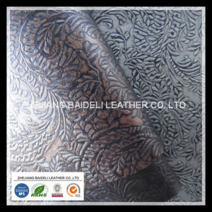 Furniture Fabric PVC Leather with Flower Embossed pictures & photos