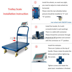 Digital Easy Moving Scale with Trolley and Four Wheels pictures & photos