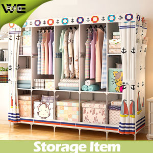 Cheap Metal Rack Bedroom Furniture Assemble Fabric Wardrobe pictures & photos