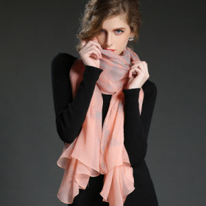 Real Silk Crepe Georgette Scarf Ms. Pink Butterfly Print Scarf Sp21-3 pictures & photos