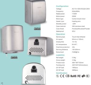 Toilet Equipment Stainless Metal High Speed Auto Hand Dryer in Stock pictures & photos