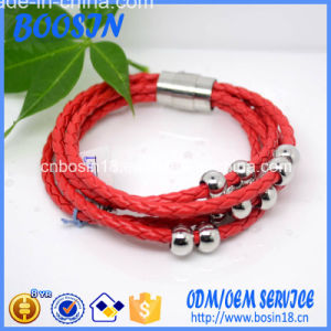 Factory Custom Red Leather Bracelet with Magnetic Clasp pictures & photos