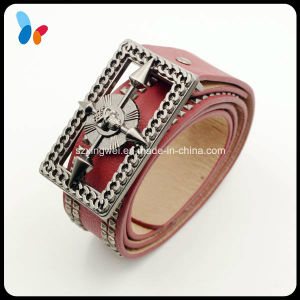 Fashion Square Buckle Red Leather Belt Genuine Belt pictures & photos