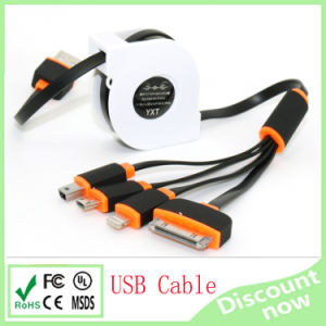 4 in 1 Collapsible Noodle USB Cable for iPhone6 Sangsung Colous 100cm pictures & photos