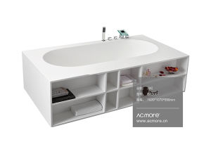 Solid Surface Bathroom Freestanding Stone Resin Bathtub pictures & photos