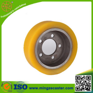 Yellow PU on Cast Iron Fork-Lift Truck Wheel  pictures & photos