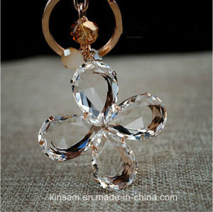 Lovely Four-Leaf Clover Crystal Glass Key Ring pictures & photos