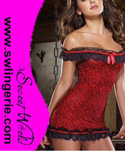 Europe and The United States Direct Lingerie Sexy Leopard Red Nightgown 6112
