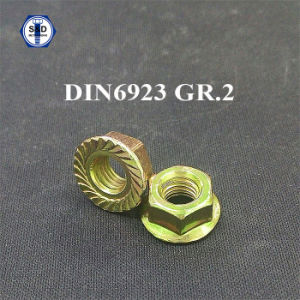 DIN6923 Grade2 Flange Nut Yellow Zinc Plated pictures & photos