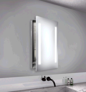 Lucent Round Stainless Steel Medicine Cabinet with Lighted Mirror (LZ-020) pictures & photos
