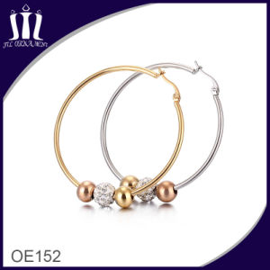 Hot Sale Larger Earring Hoop with 3 Tone Ball pictures & photos