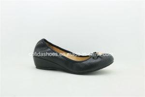 Comfort Wedge Heel Soft Leather Ballerina Pumps Women Shoe pictures & photos