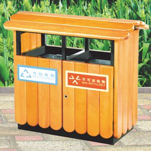 High Quality Wooden Park Recycling Bin Stand pictures & photos