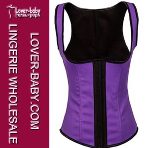 High Quality Lady Purple Rubber Steel Boned Waist Trainer (L42637-3) pictures & photos