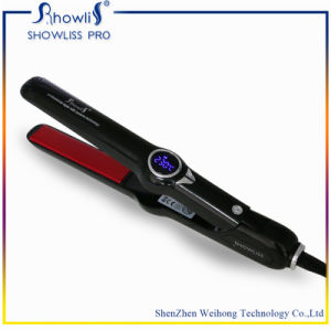 Showliss Professional Ceramic Flat Iron Hair Straightener + 2 Free Salon Clips - Universal Voltage 110V-220 - Temperature Controls