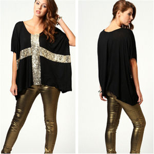 New Style Casual Loose Women Cotton T-Shirt (MU2379-1) pictures & photos