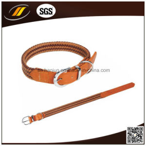 Custom Handmade Strong Durable Thick Real Leather Dog Pet Collar (HJ1210) pictures & photos