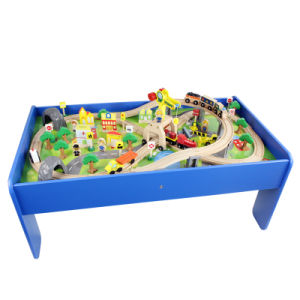 China wooden construction track set with table china for 100 piece cityscape train set and wooden activity table