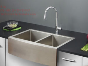 Stainless Steel Apron Fornt Radius Double Bowl Handmade Kitchen Sink pictures & photos