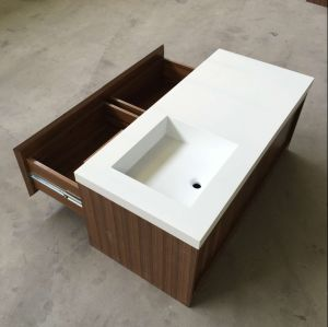 New Design Solid Surface Bathroom Wash Basin with Cabinet pictures & photos