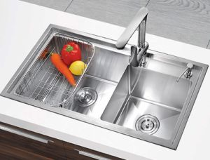 Fashionable Handmade Ss201 Stainless Steel Double Bowl Kitchen Sink (YX7843)