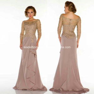 Silk Chiffon Mother′s Formal Party Dress Sweep Train Evening Gowns B27 pictures & photos