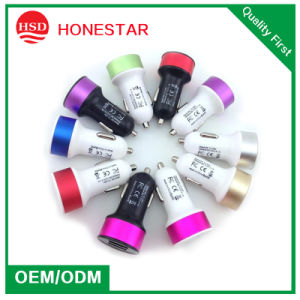 Factory Supply High Quality Portable Dual USB Car Charger with Colorful pictures & photos