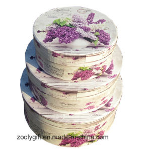 Round Shape Decorative Rigid Cardboard Flower Paper Storage Gift Nesting Box pictures & photos