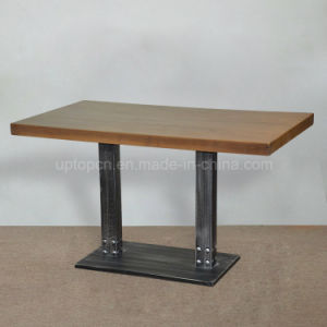 Uptop Cast Iron Base Long Solid Wood Restaurant Table (SP-RT496) pictures & photos