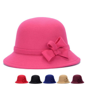 Lady Fashion Imitation Wool Knitted Winter Dress Bucket Hat (YKY3242) pictures & photos